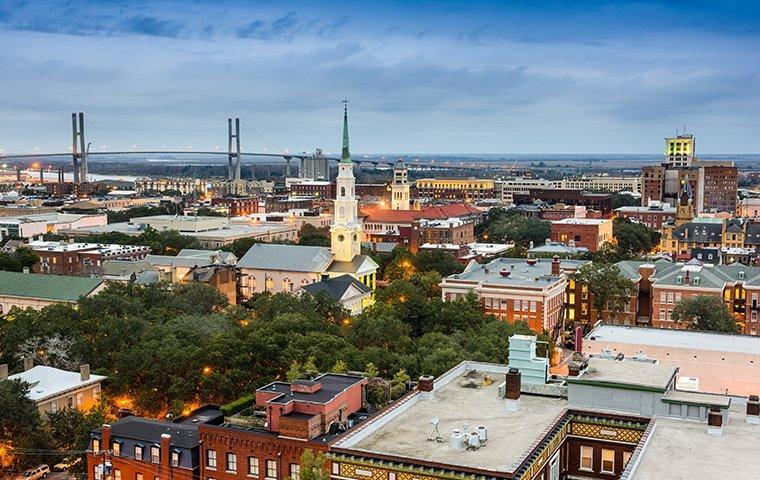 an aerial view of downtown savannah georgia
