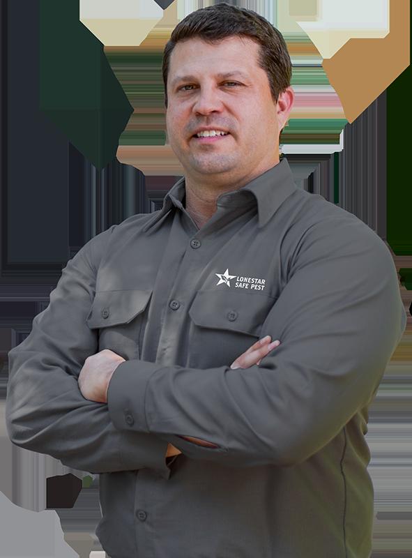 a pest control service technician over a transparent background
