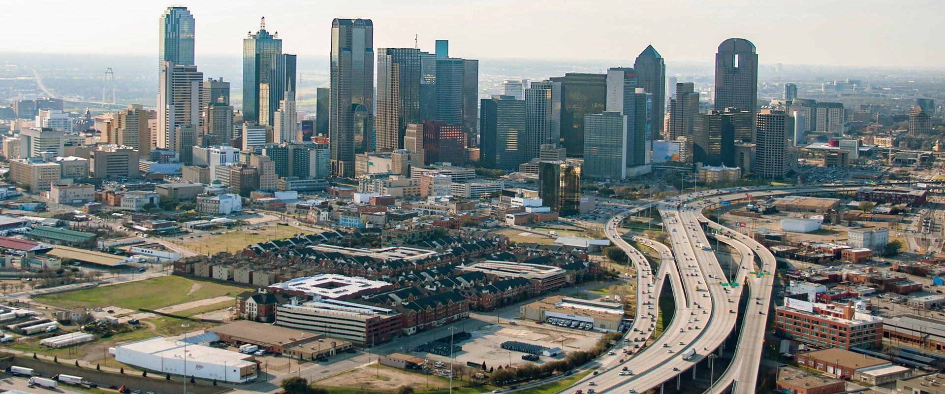 a skyline view of the dallas fort worth metroplex area