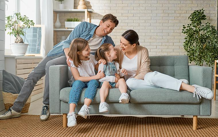 happy family on a couch