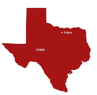 where we service map of texas featuring frisco