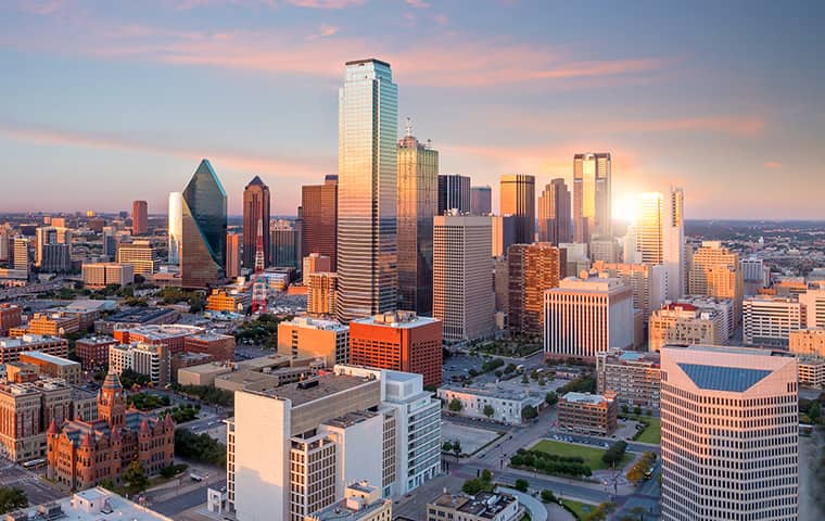 a skyline view of commercial and residential properties serviced by addison pest control of texas in dallas