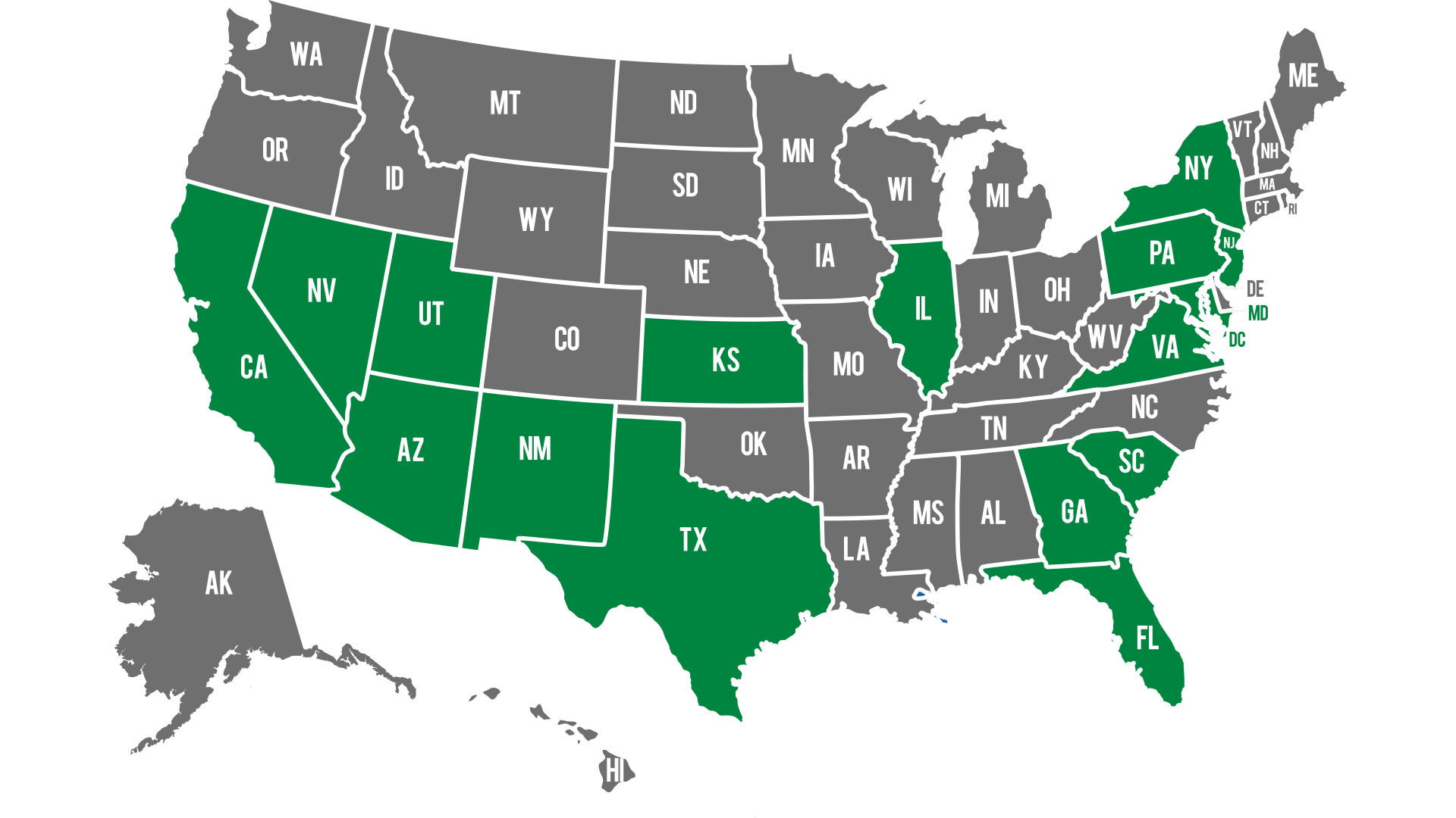 a united states map with pestmaster services locations