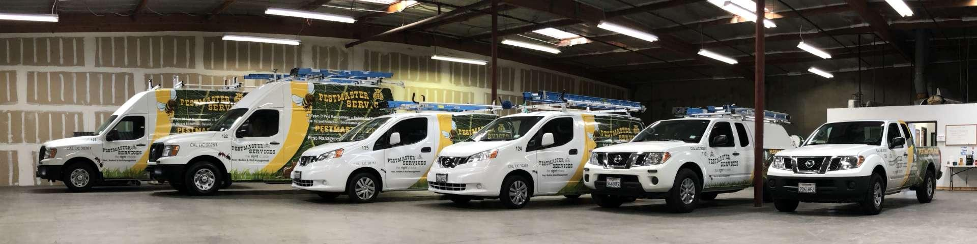 a fleet of pestmaster services vehicles