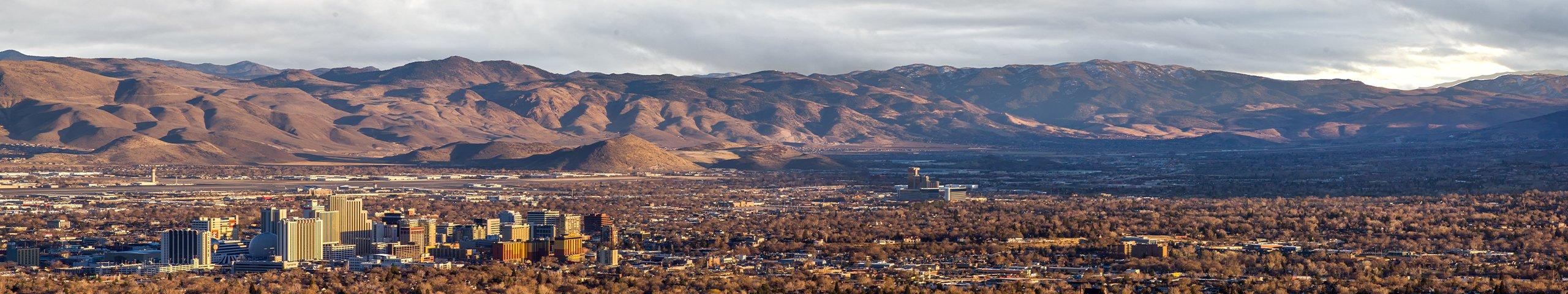skyline and mountains of reno nevada