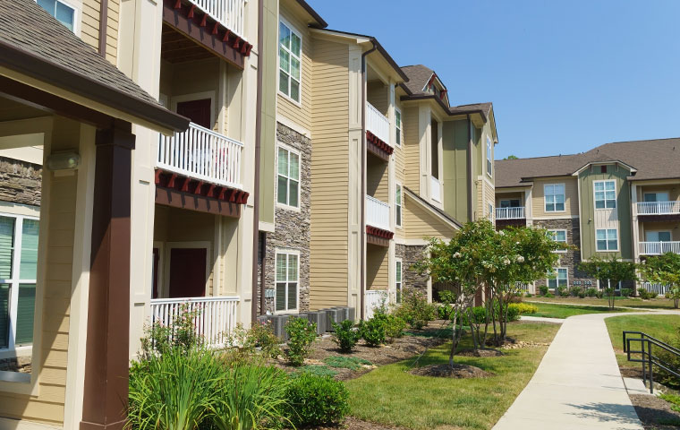 an exterior view of an apartment complex