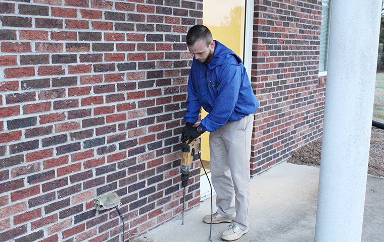 pest control expert drilling in preparation of a termite treatment