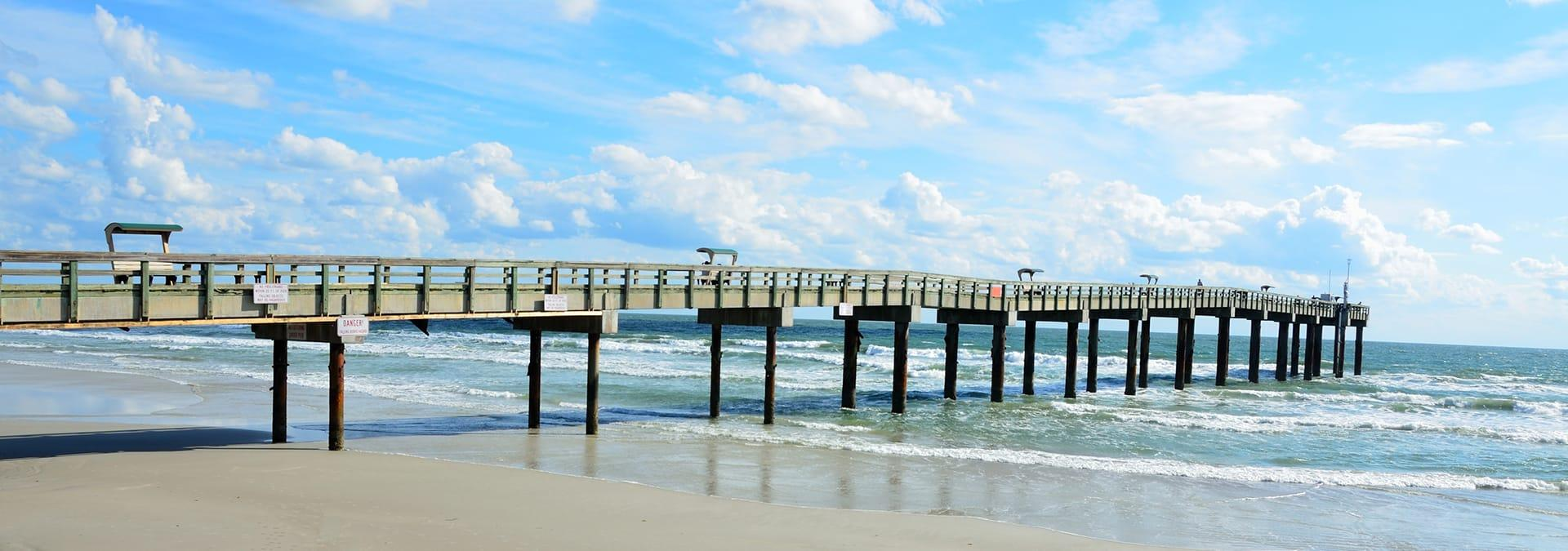 a view of a pier in st augustine beach florida
