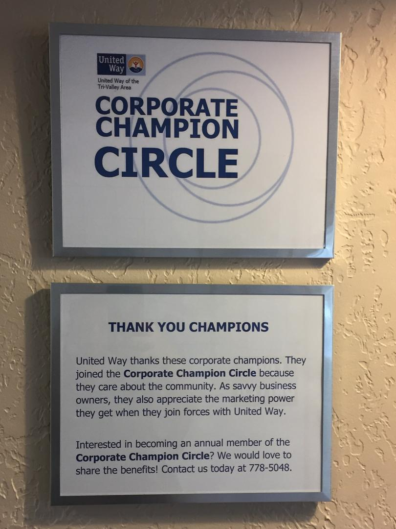 United Way appreciates its Corporate Champion Circle members and widely promotes the annual partnership.