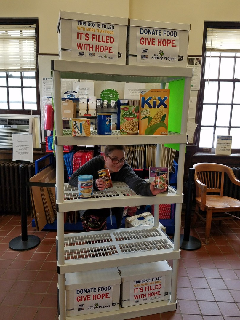 Farmington Post Office participates in 'Stamp Out Hunger' and fills the Pantry Project shelves.