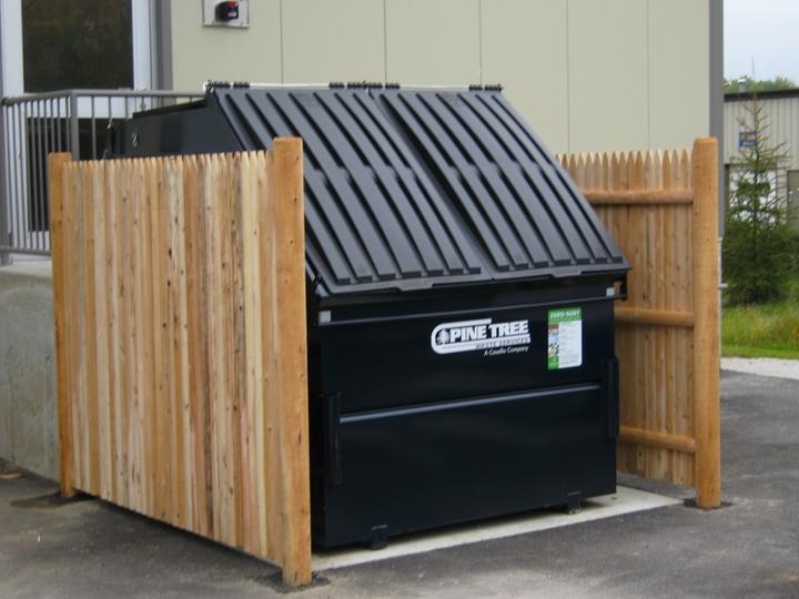 Photo #340, 6' 2-Sided Cedar Stockade Dumpster Enclosure
