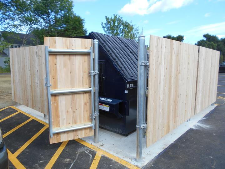 Photo #341, 6' Solid Board Dumpster Enclosure with Steel Frame and Side Gate