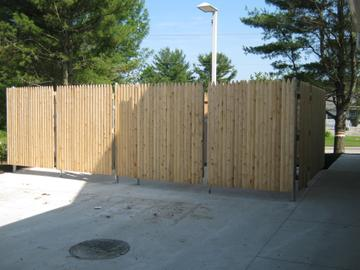 Photo #342, 6' Stockade Double Dumpster Enclosure with Steel Frame