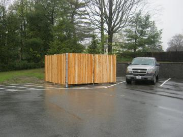 Photo #343, 6' Solid Board Dumpster Enclosure with Steel Gate Frame