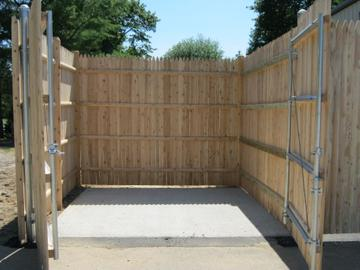 Photo #345, 8' Stockade Picket Dumpster Enclosure with Steel Gate Frame