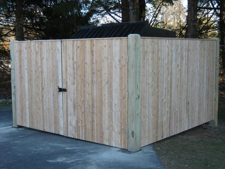 Photo #346, 6' Solid Board Dumpster Enclosure with Pressure Treated Posts