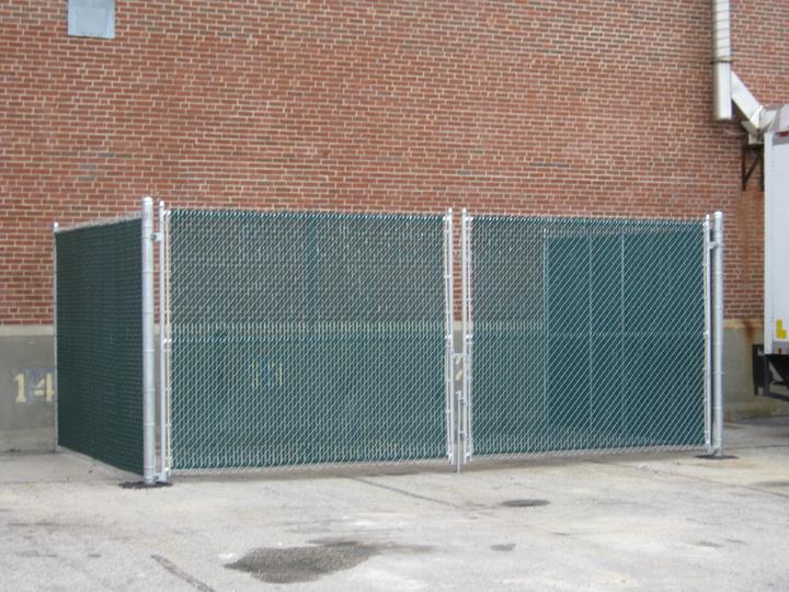 Photo #348, 6' Galvanized Chain Link Dumpster Enclosure with Privacy Slats