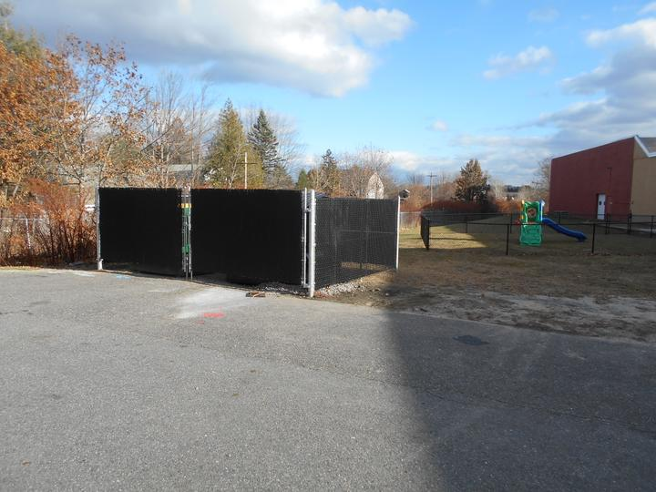 Photo #349, 6' Galvanized Chain Link Dumpster Enclosure with Privacy Slats