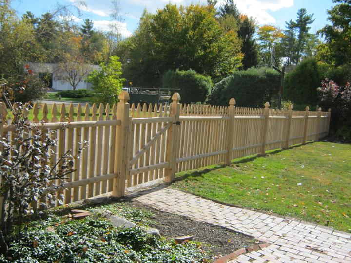 Photo #88, 4' Spaced Gothic Style Picket with Gothic Top Posts and Gate