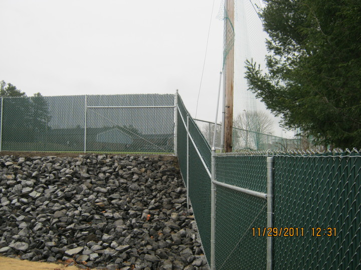 Photo #405, Galvanized Chain Link with Privacy Slats