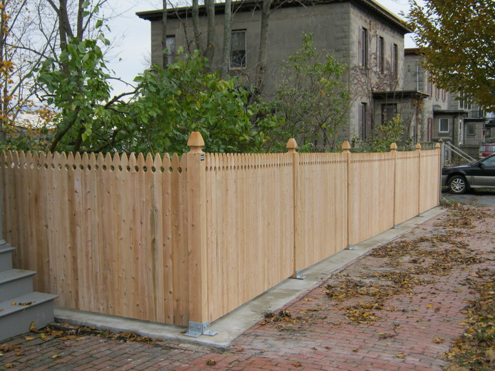 Photo #175, Solid Gothic Board Fence with Gothic Top Posts