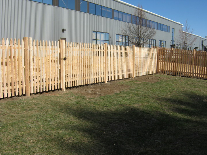 Photo #74, 5' Spaced Stockade Picket Fence with Round Posts