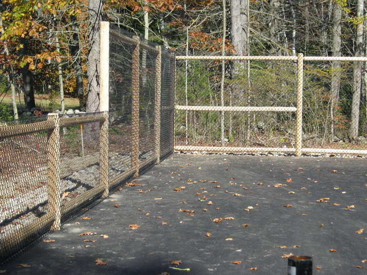 Photo #348, Vinyl-Coated Tennis Court with Cedar Posts