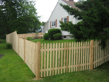 Photo #75, 4' Spaced Stockade Picket Fence with Round Posts