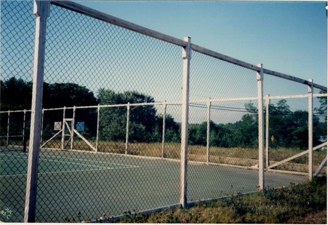 Photo #55, Tennis Court Enclosure with Square Posts and Top Rail and Black Vinyl Coated Fabric
