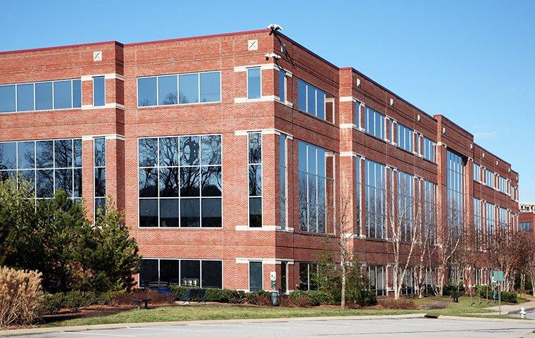 a large brick commercial building