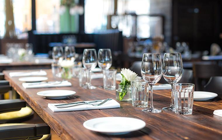 an empty restaurant dining room