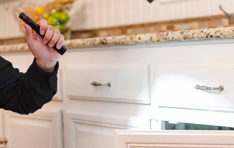 technician inspecting beneath kitchen sink