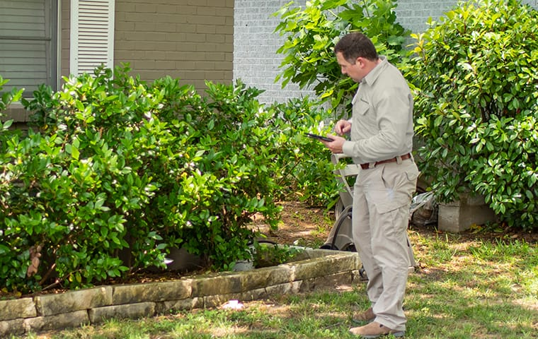 a finally pest control technician inspecting entry points for pests in indianapolis indiana