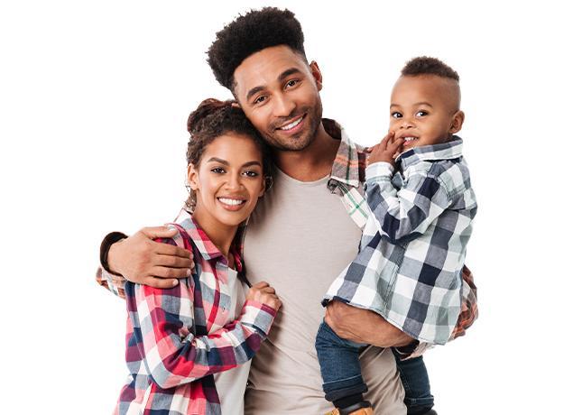 smiling happy family of three
