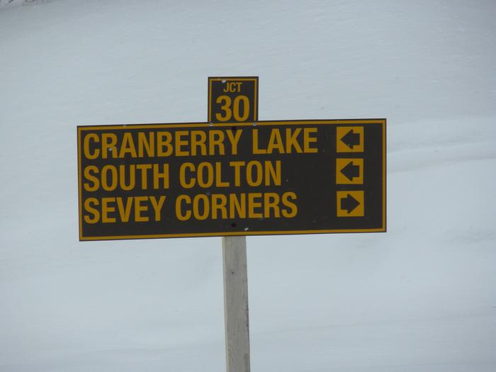 Trail intersection sign (Credit: St. Lawrence County Snowmobile Association)