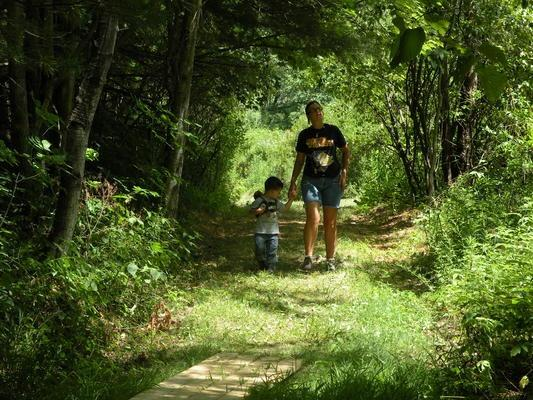 Walking along the Macsherry Trail (Credit: Thousand Islands Land Trust)