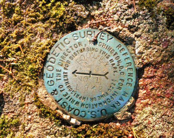 Survey marker on Tooley Pond Mt (Credit: Wm Hill/Hiking the trail to yesterday)