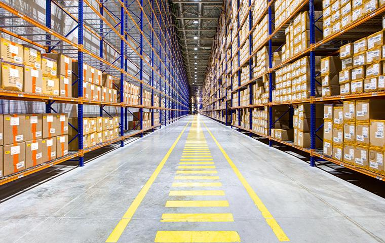 interior of a warehouse in upland california