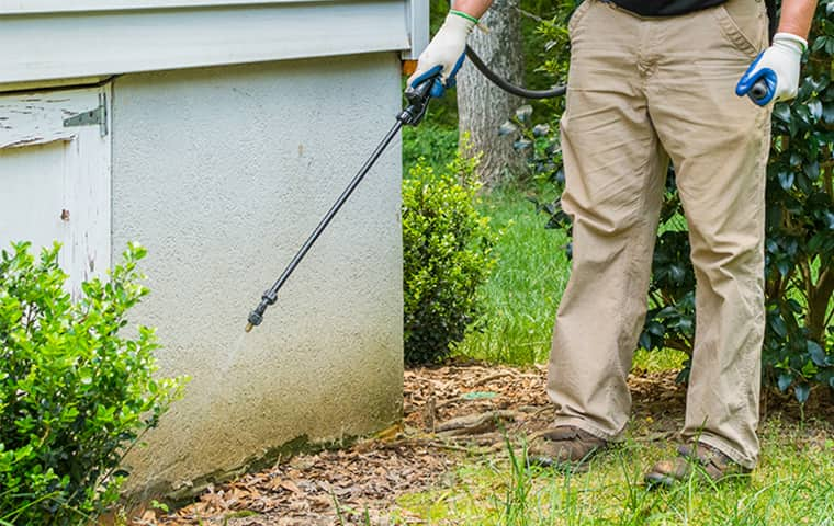 a technician performing an exterior spray treatment on an oregon home