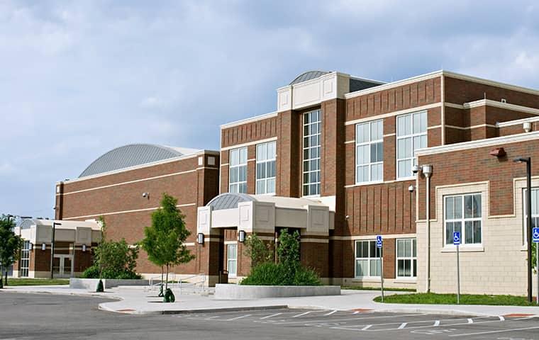 exterior view of a brick school building in portland oregon