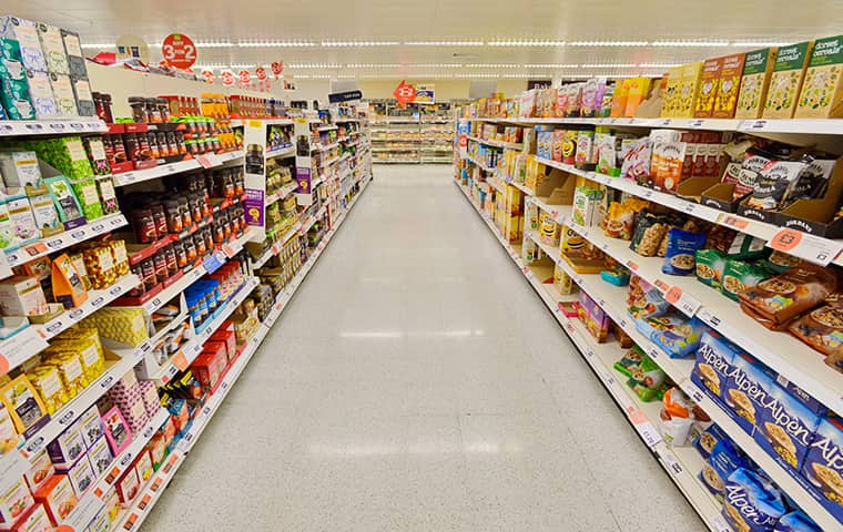 interior view of an aisle in an oregon supermarket