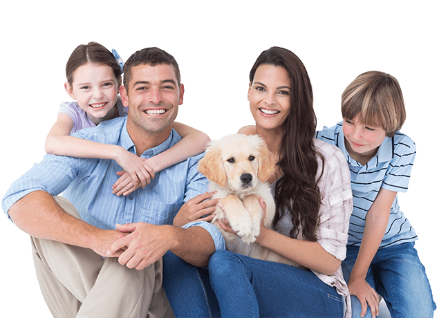 happy family of four posing with their puppy in woodburn oregon