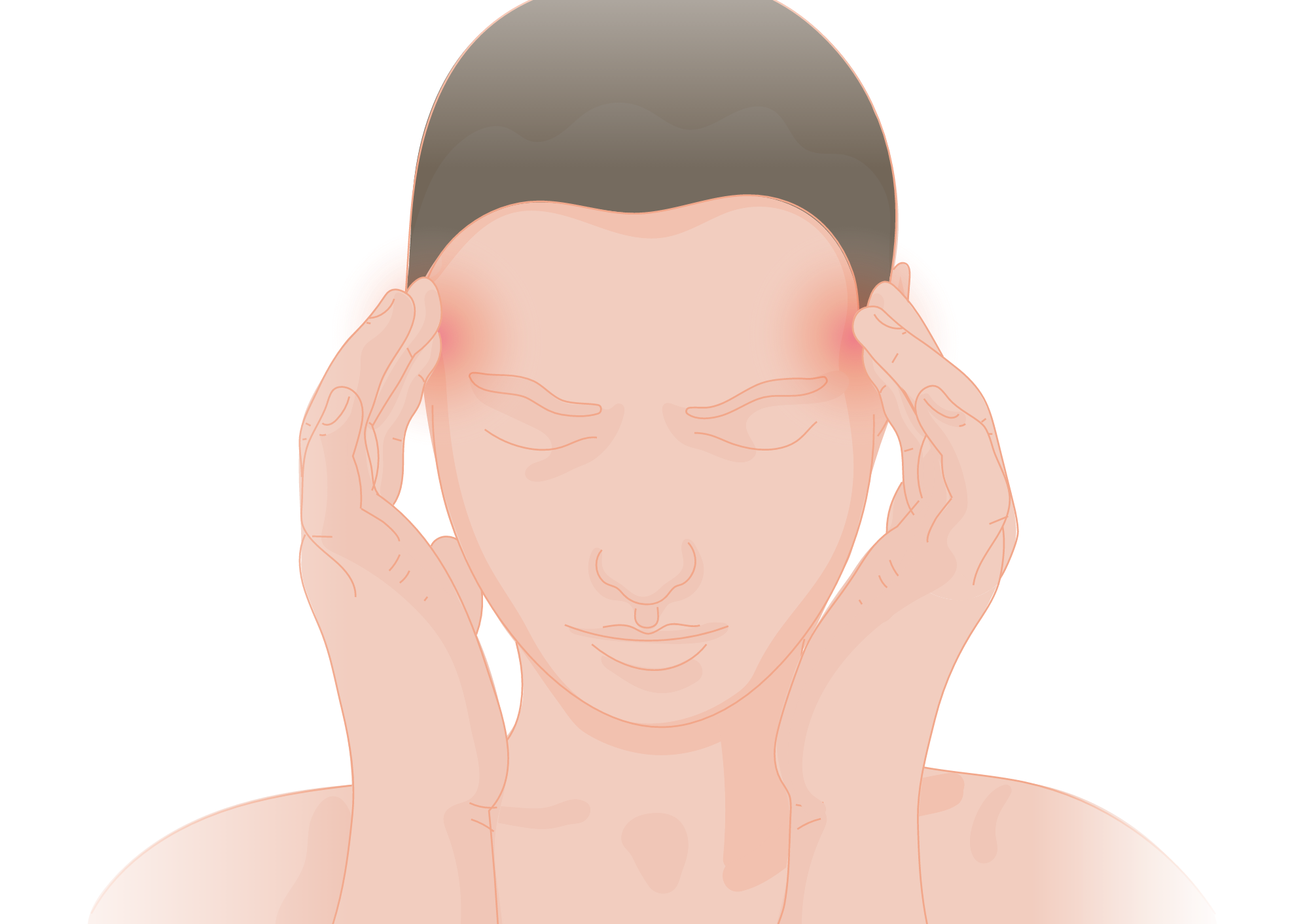 Drawing of a person with fingers on temple trying to ease headache