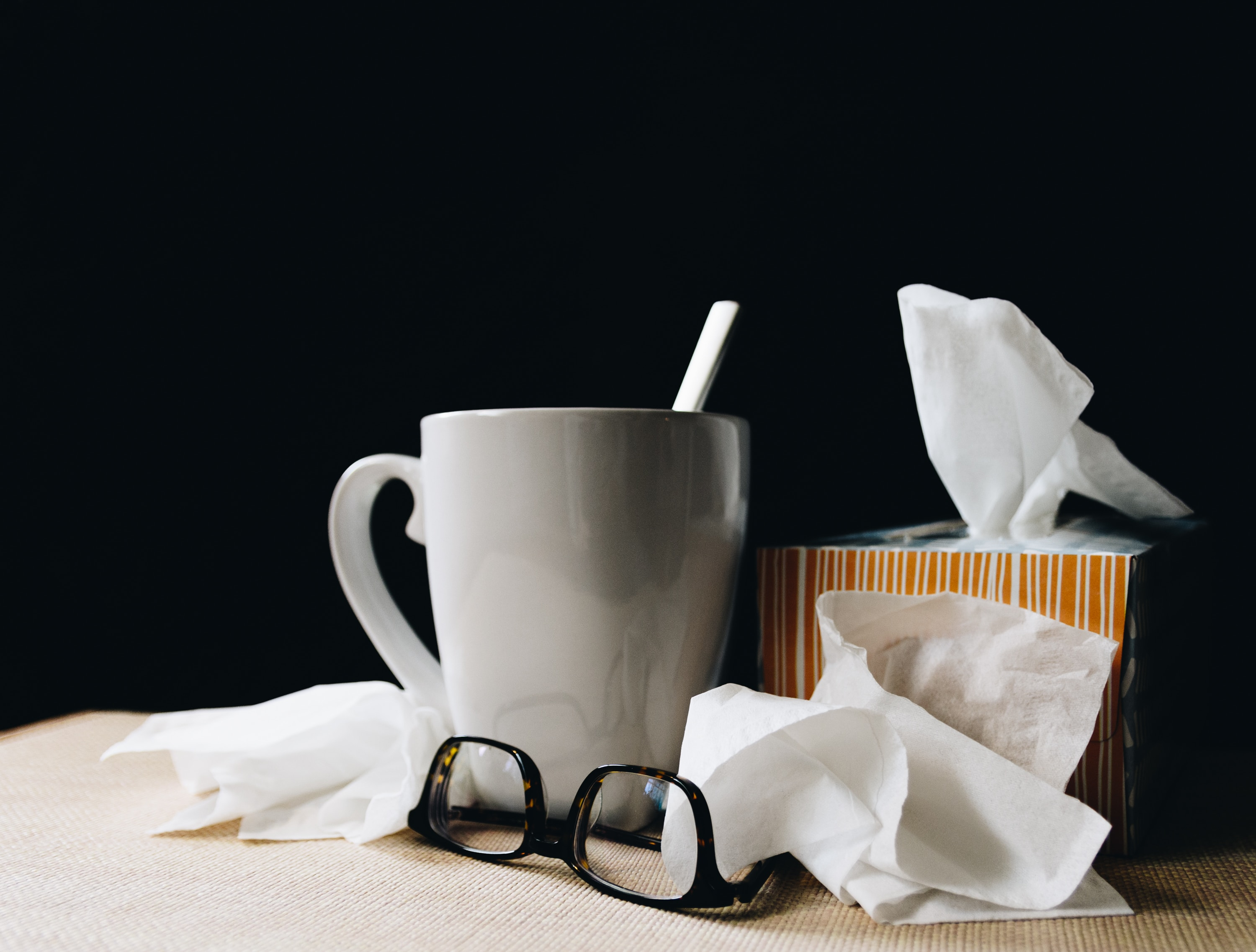 Coffee mug and tissues