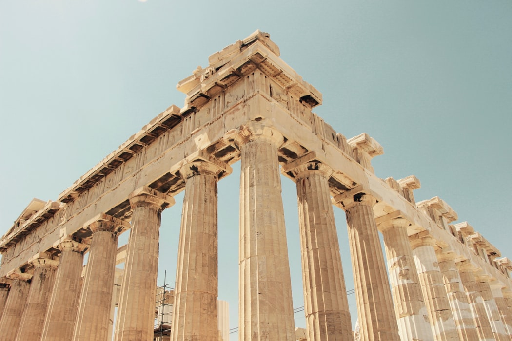"""Line of pillars in a """"V"""" shape at The Parthenon, Greece"""