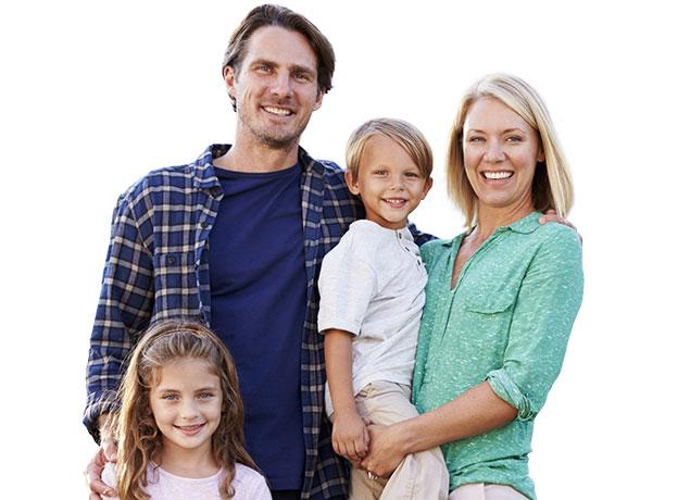 a happy family of four in baltimore county maryland