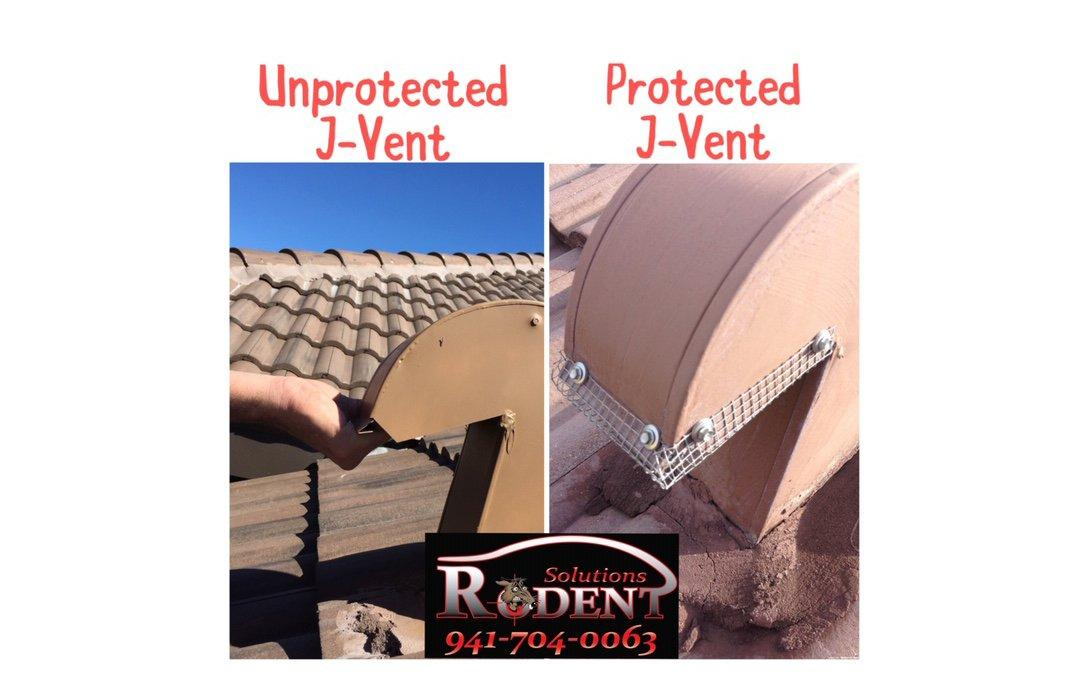 example of roof rodent protection flashing