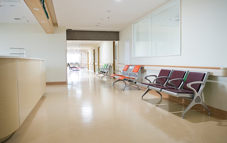 an empty hallway in a medical facility
