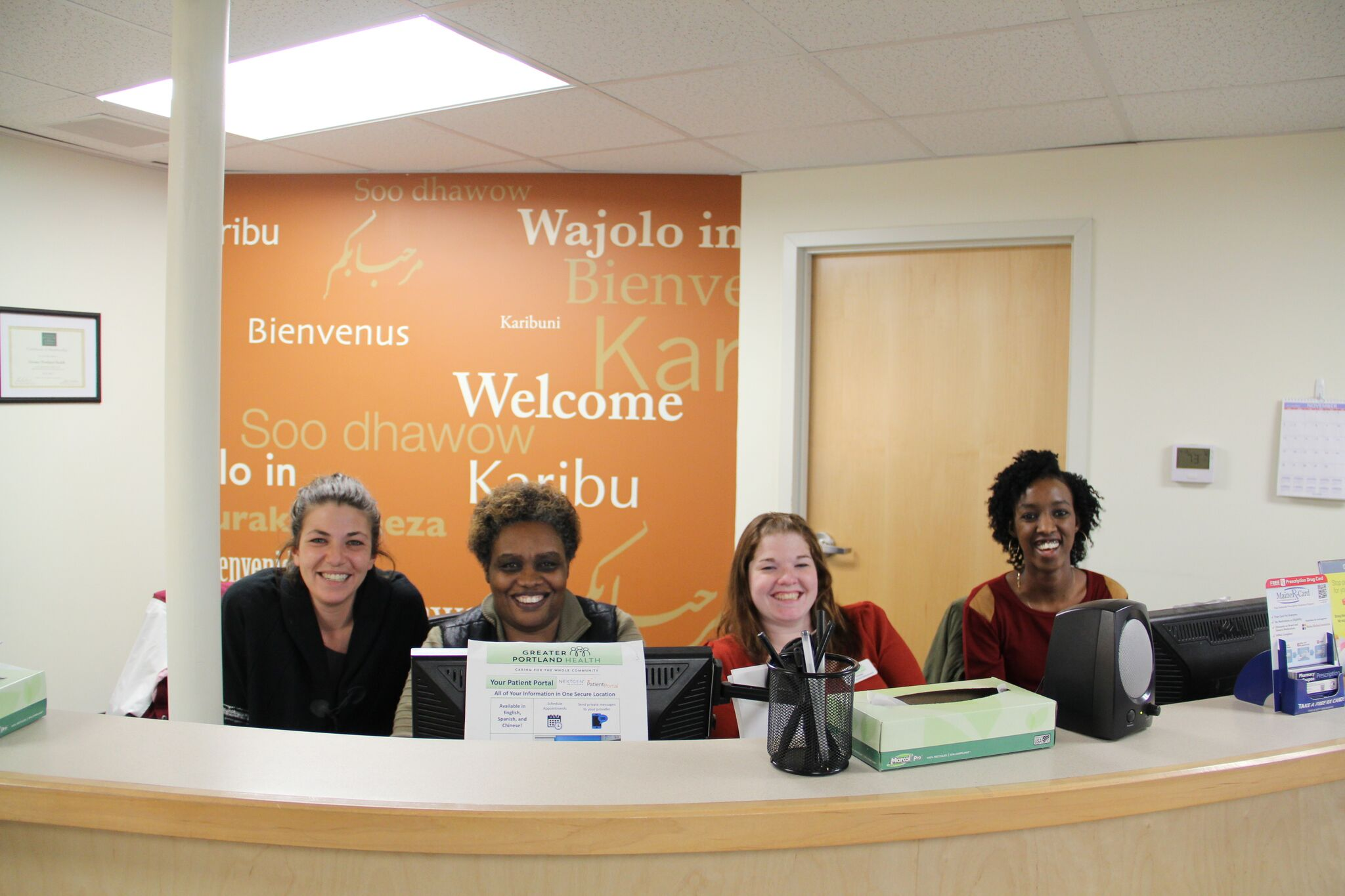Patient Service Representatives at front desk at 180 Park