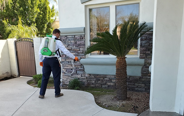a pest control service technician performing pest control treatments on the exterior of a home